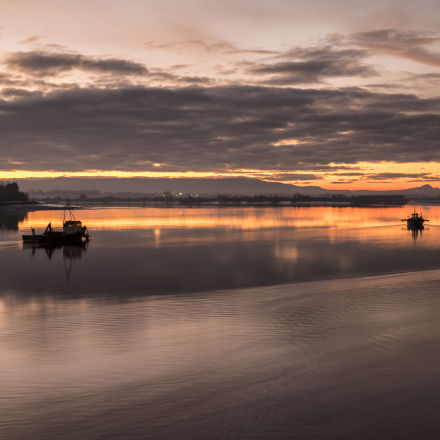 """Sunset over the River Forth"" stock image"
