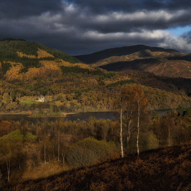 """Fall scenery at The Trossachs National Park"" stock image"