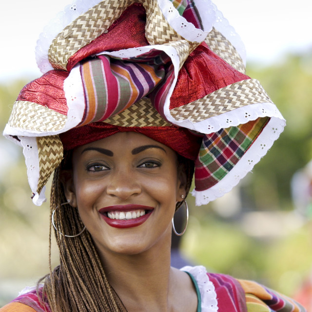 """Woman wearing Jamaican national costume for cultural display at Governor..."" stock image"