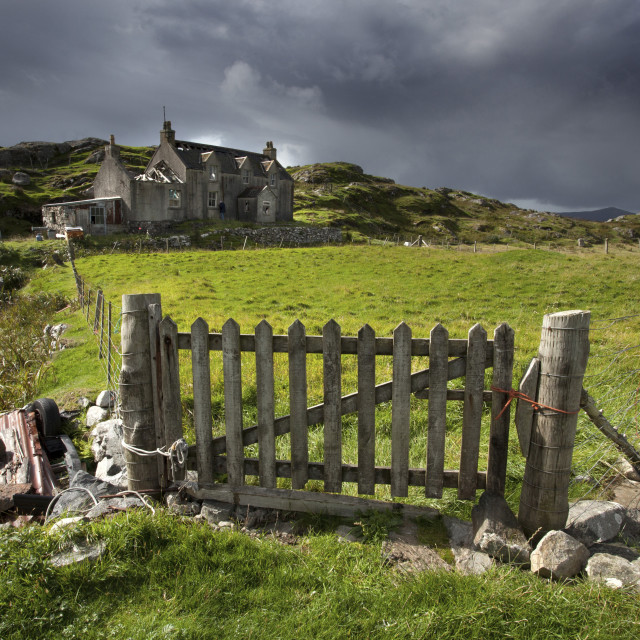 """""""Abandoned croft beneath a stormy sky in the township of Manish on the east..."""" stock image"""