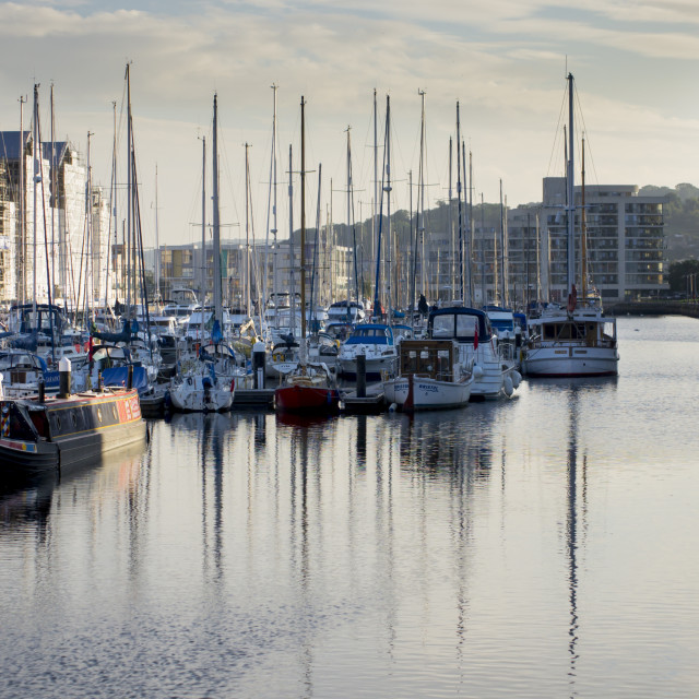 """Boats are moored in the newly completed marina in Portishead."" stock image"