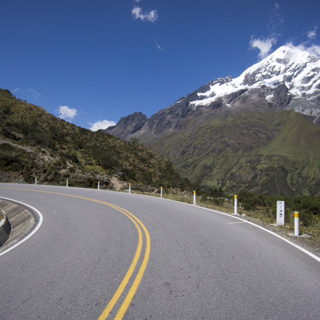 """""""Malaga Pass, 4316 meters high, Mountain Veronica in the background, Andes..."""" stock image"""