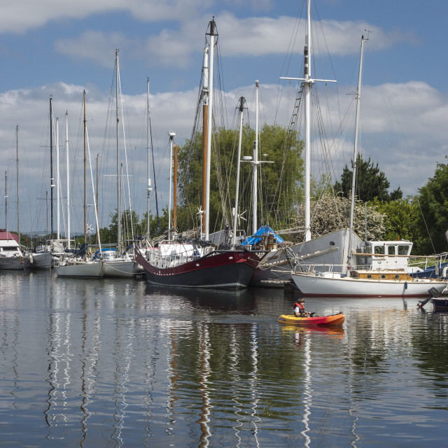 """""""Boats Moored in Exeter Ship Canal"""" stock image"""