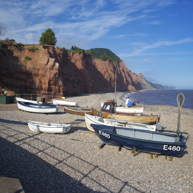 """""""Beach and cliffs on the Jurassic Coast, UNESCO World Heritage Site, Sidmouth,..."""" stock image"""
