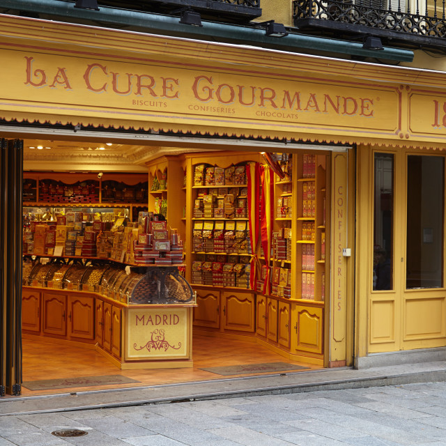 """La Cure Gourmande biscuit shop, Madrid, Spain, Europe"" stock image"