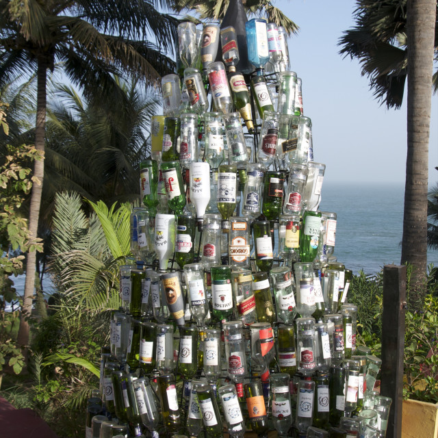 """""""Christmas tree made out of bottles, Ngala Lodge, situated between the resorts..."""" stock image"""