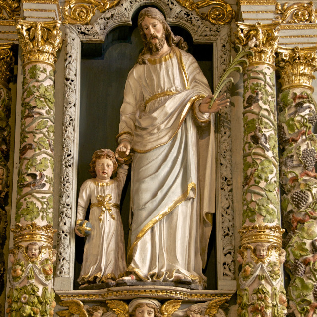 """Retable in the Rosary, ( detail ), ( 17th c.), saint Joseph and child,..."" stock image"