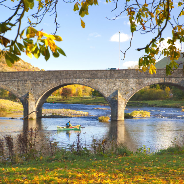 """River Wye and Bridge, Builth Wells, Powys, Wales, United Kingdom, Europe"" stock image"