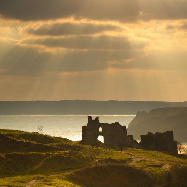 """Pennard Castle, Gower, Wales, United Kingdom, Europe"" stock image"