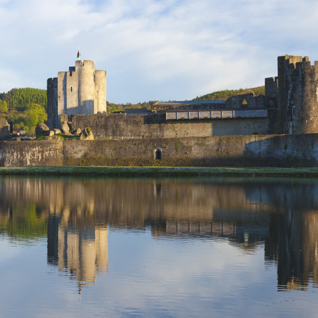 """Caerphilly Castle, Panoramic, Wales, U.K."" stock image"
