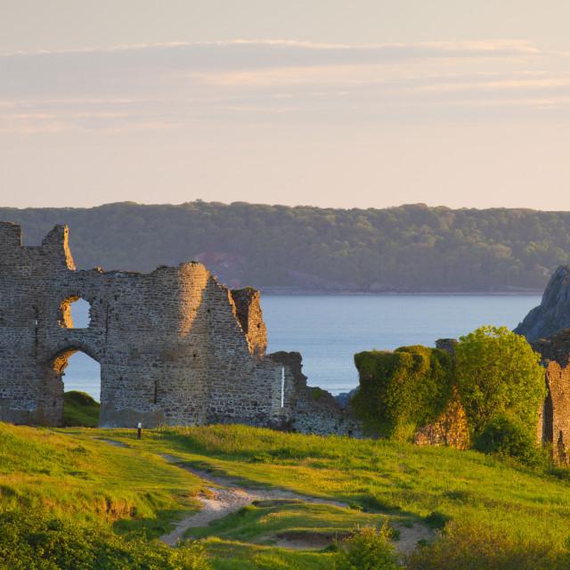 """Pennard Castle (Penmaen Castle), overlooking Three Cliffs Bay, Gower, Wales,..."" stock image"