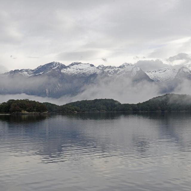 """""""Lake Manapouri, Doubtful Sound, Fiordland National Park, UNESCO World..."""" stock image"""