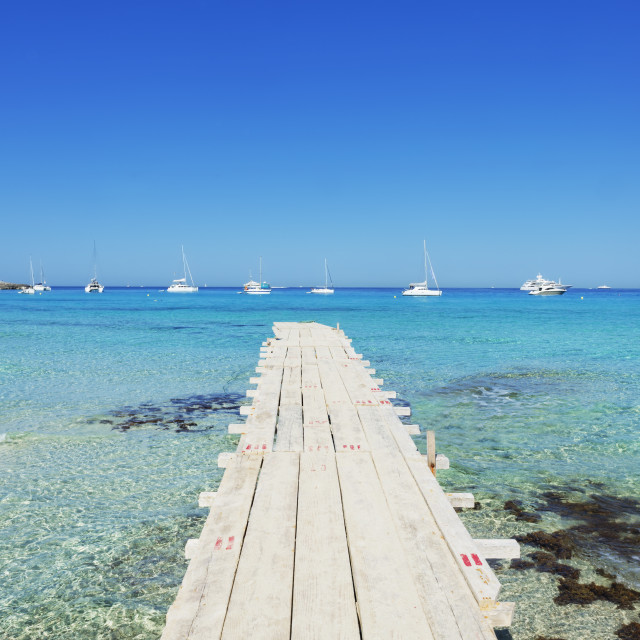 """Pier in Formentera's turquoise waters, Formentera, Balearic Islands, Spain,..."" stock image"