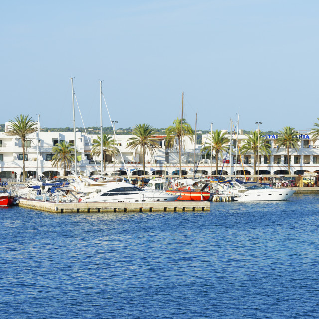 """Formentera Harbor, Formentera, Balearic Islands, Spain, Mediterranean, Europe"" stock image"
