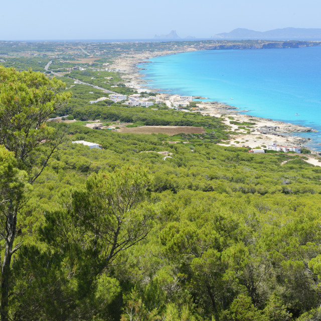 """Formentera Island, top view, Balearic Islands, Spain, Mediterranean, Europe"" stock image"