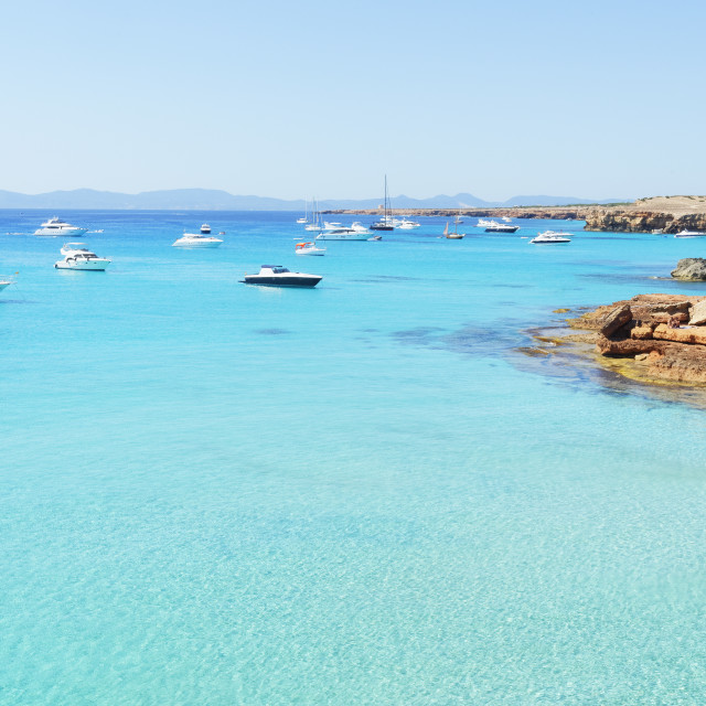 """Formentera turquoise waters, Formentera, Balearic Islands, Spain,..."" stock image"