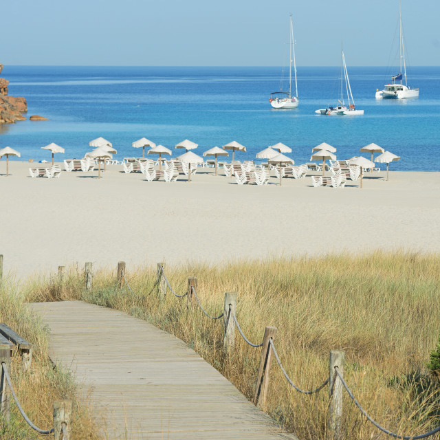 """Wooden bridge leading to Cala Saona, Formentera, Balearic Islands, Spain,..."" stock image"