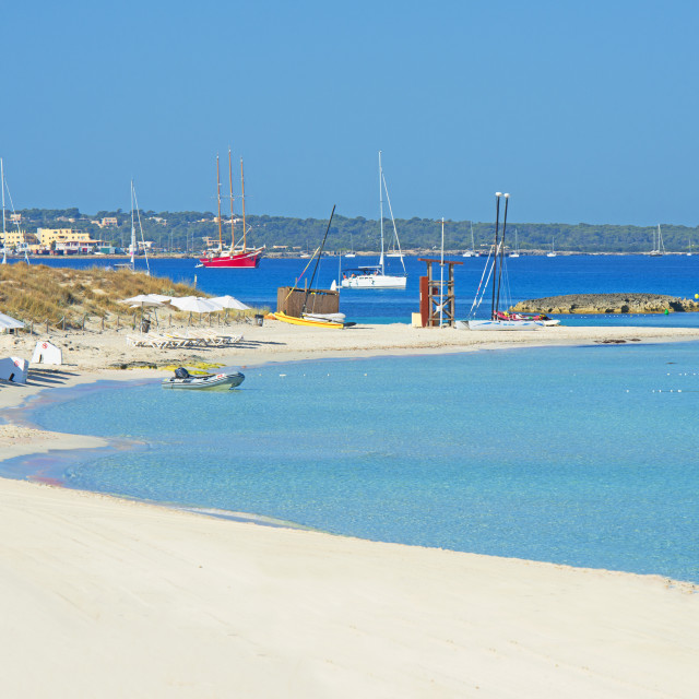 """Ses Illetes beach, Formentera, Balearic Islands, Spain, Mediterranean, Europe"" stock image"