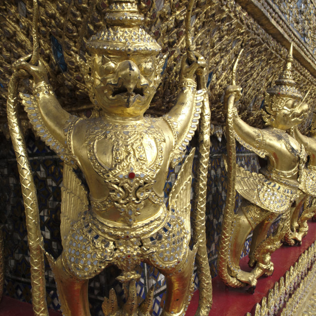 """Garudas and nagas on external decorations of the Ubosoth, Wat Phra Kaew..."" stock image"