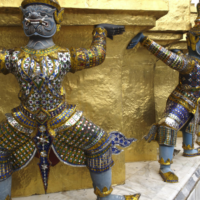 """Statues of monkey-demons, Wat Phra Kaew temple, Grand Palace, Bangkok,..."" stock image"