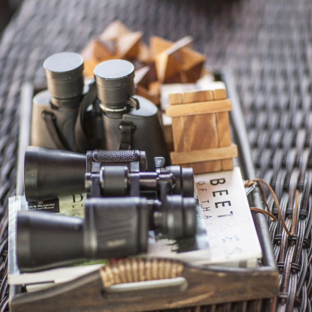 """Binoculars and books, Golden Triangle, Thailand, Southeast Asia, Asia"" stock image"