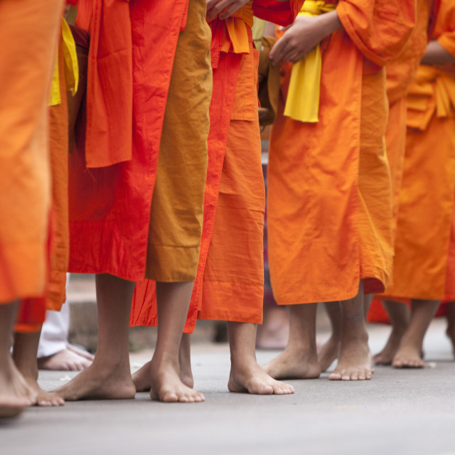 """Buddhist monks. Luang Prabang, Laos, Indochina, Southeast Asia, Asia"" stock image"