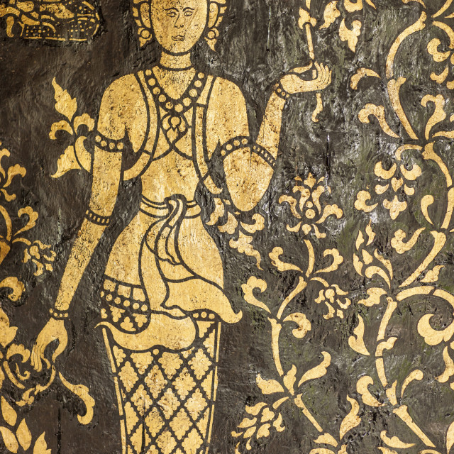 """Wall at a Buddhist temple, Luang Prabang, Laos, Indochina, Southeast Asia, Asia"" stock image"