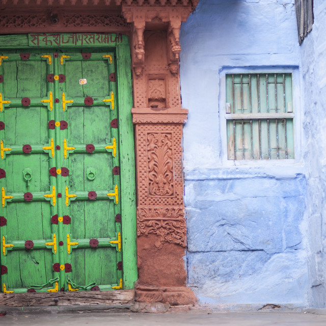 """Green door and blue walls, Jodhpur, Rajasthan, India, Asia"" stock image"