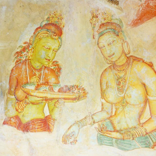 """Ancient frescoes, Sigiriya, UNESCO World Heritage Site, North Central..."" stock image"