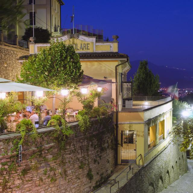 """Restaurant in Bergamo, Lombardy, Italy, Europe"" stock image"