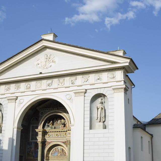 """""""Facade of Duomo, Aosta Cathedral, Aosta, Aosta Valley, Italy, Europe"""" stock image"""