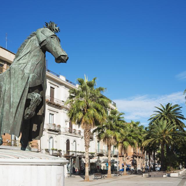 """""""Horse sculpture, Bari, Puglia, Italy, Europe"""" stock image"""