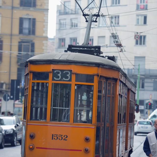 """City tram, Milan, Lombardy, Italy, Europe"" stock image"