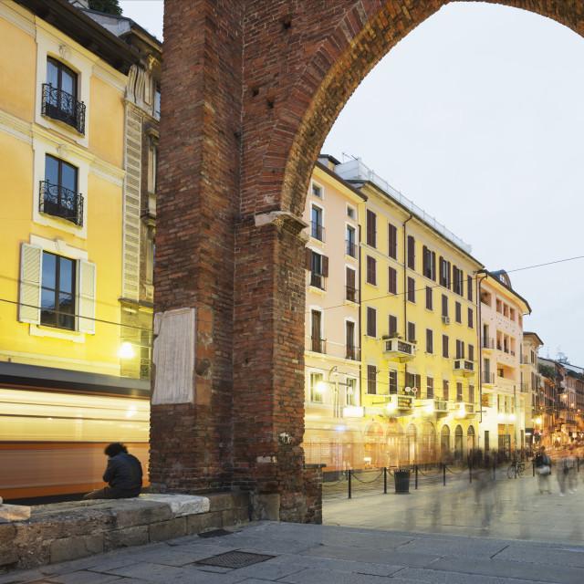 """""""Piazza San Lorenzo, Milan, Lombardy, Italy, Europe"""" stock image"""