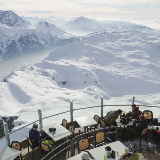 """Brevant restaurant, Chamonix, Haute-Savoie, French Alps, France, Europe"" stock image"