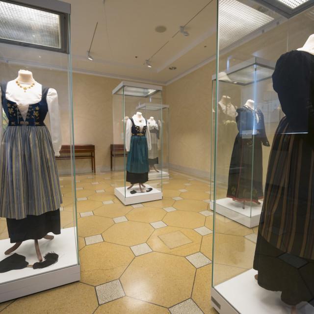 """Display of traditional clothing, National Museum, Reykjavik, Iceland, Polar..."" stock image"