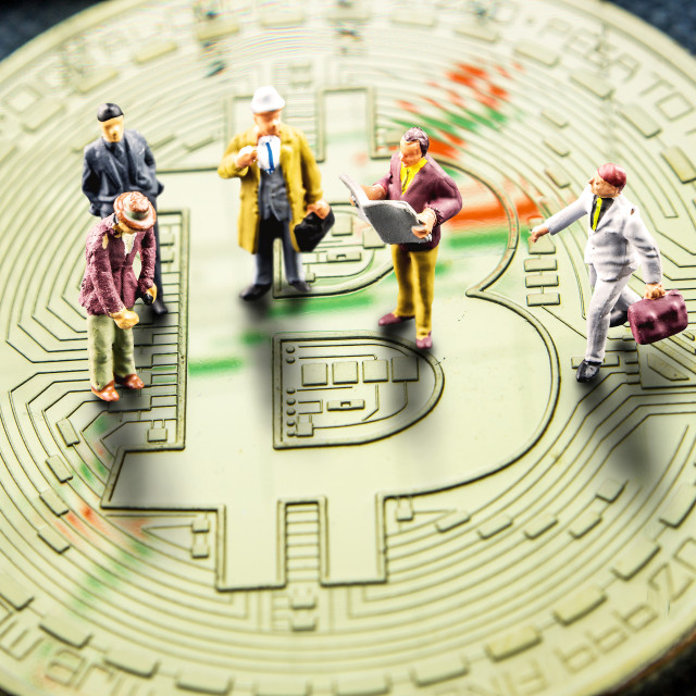 """""""making business counting on crypto currencies especially bitcoin"""" stock image"""