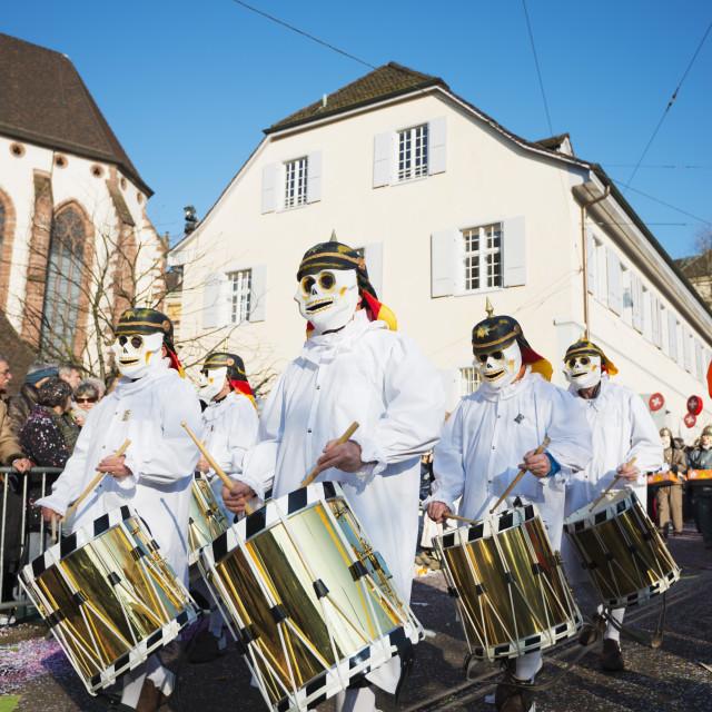 """Fasnact spring carnival parade, Basel, Switzerland, Europe"" stock image"