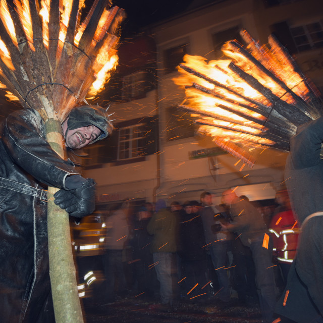 """Fasnact spring carnival fire festival, Liestal, Switzerland, Europe"" stock image"