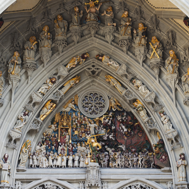 """The Last Judgement, Berner Munster, 15th century Gothic Cathedral, Bern,..."" stock image"