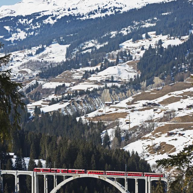"""""""Narrow gauge railway, Langwieser Viaduct, Arosa mountain resort, Graubunden,..."""" stock image"""