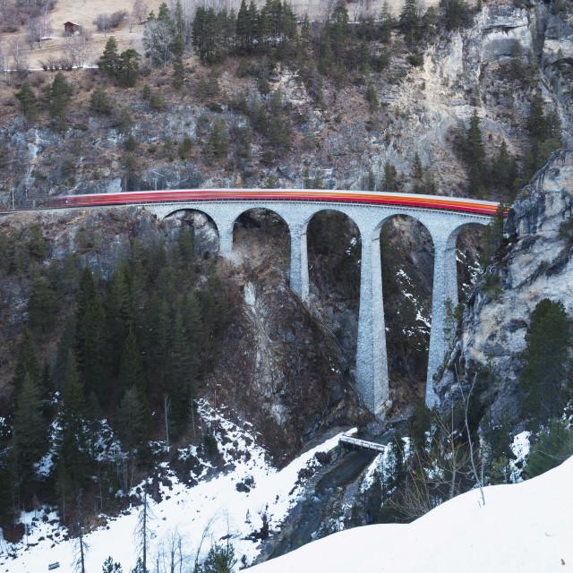 """Landwasser Viaduct, Bernina Express railway line, UNESCO World Heritage Site,..."" stock image"
