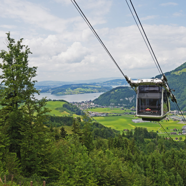 """""""CabriO cable car to Stanserhorn, the world's first double decker open air..."""" stock image"""