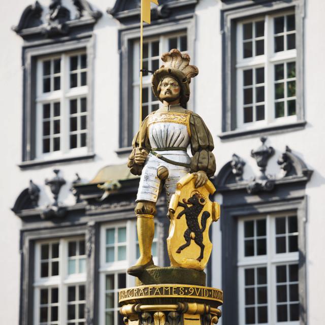 """""""Statue in medieval Old Town, Schaffhausen, Switzerland, Europe"""" stock image"""