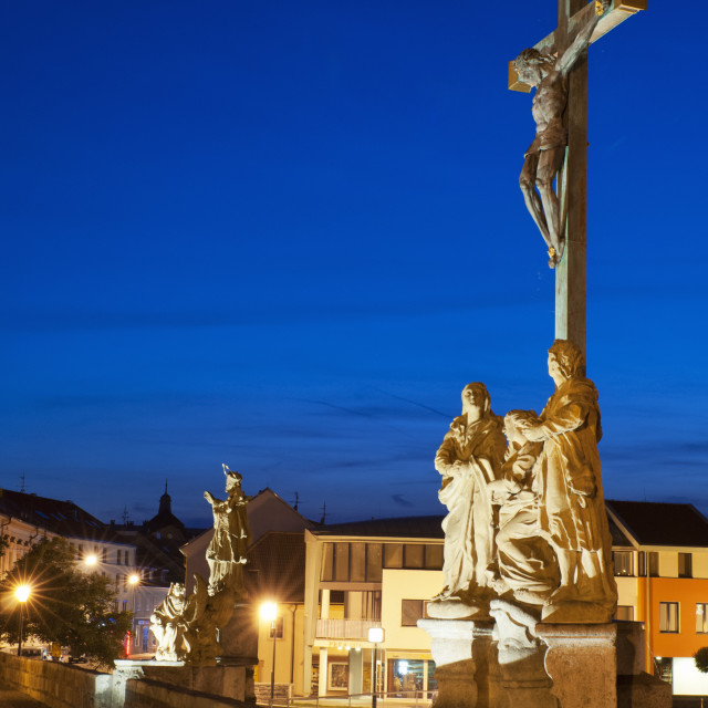 """""""Statue of Crucified Jesus Christ on Kamenny Most, the oldest Gothic stone..."""" stock image"""