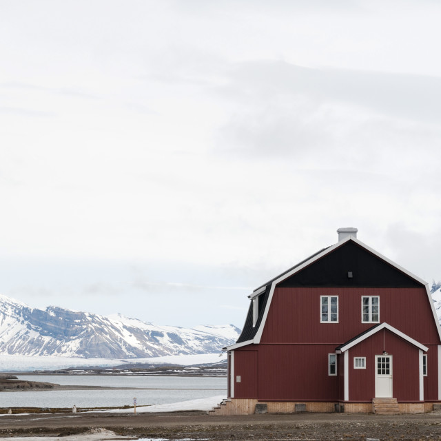 """Roald Amundsen house, Ny-Alesund, Spitzbergen, Svalbard Islands, Norway,..."" stock image"