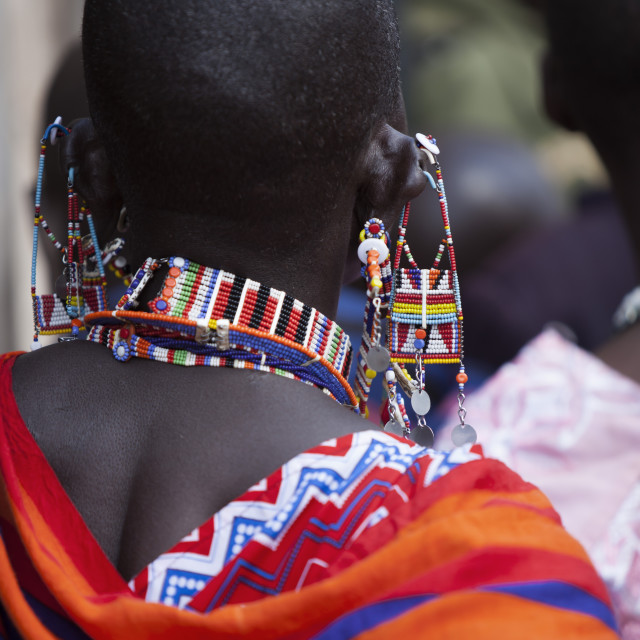 """Maasai beadwork at the Predator Compensation Fund Pay Day, Mbirikani Group..."" stock image"
