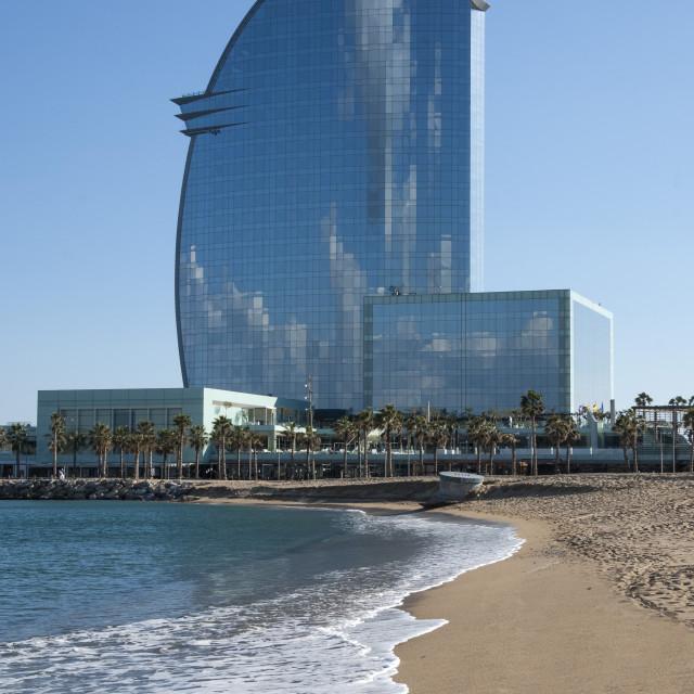 """W Hotel, Sant Sebastia, Barceloneta, Barcelona, Catalunya, Spain,..."" stock image"