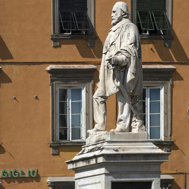 """Statue of Garibaldi, Lucca, Tuscany, Italy, Europe"" stock image"