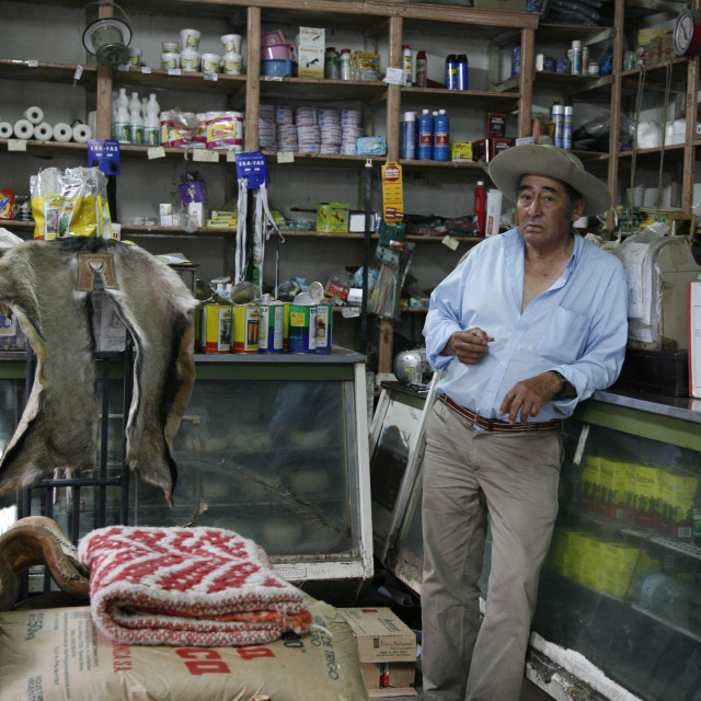 """""""Man at a local grocery shop in Cafayate, Salta Province, Argentina, South..."""" stock image"""